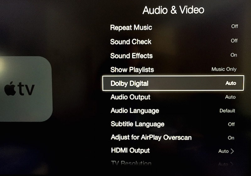 Dolby Digital setting