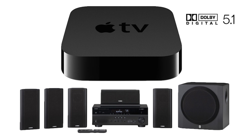 Apple TV with surround sound speakers.