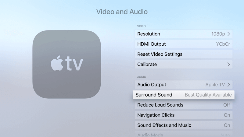 tvOS Audio Settings Screen