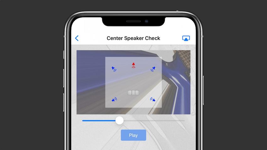 Center Speaker Check test track screen