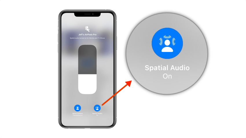 The spatial audio button in iOS